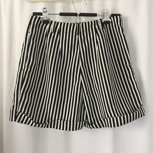 American Apparel Shorts - American Apparel Pleated Cuff Striped Shorts